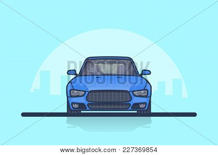 Picture Of A Modern Car With Big City Sillhouette On Background. Front Side View.