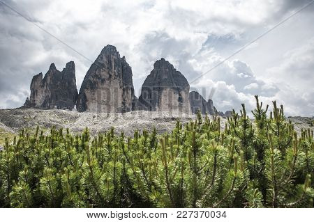 The Three Peaks Of Lavaredo, Italy. Famous Peaks Of The Italian Alps