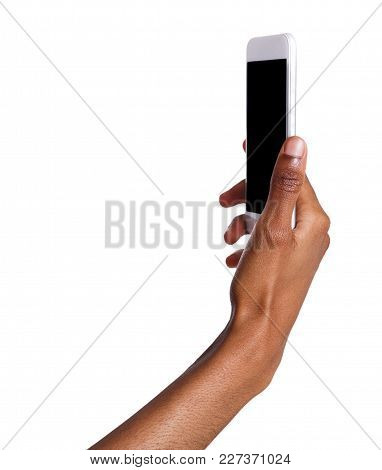African-american Woman Taking Picture Using Smartphone. Black Hand Holding Mobile And Making Selfie,
