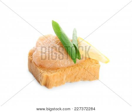 Bread with delicious cod caviar on white background