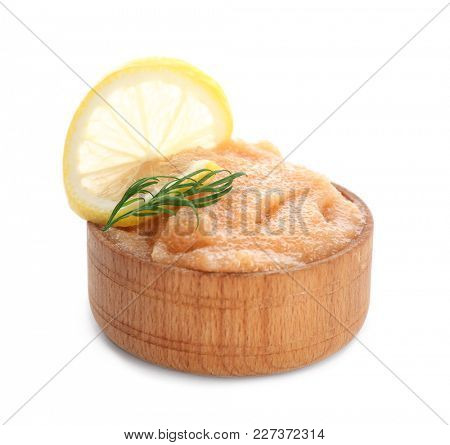 Bowl with delicious cod caviar on white background