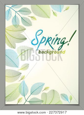 Spring Vertical Banner Design, Vector Green And Fresh Leaves Floral Beautiful Background, Spring Sal