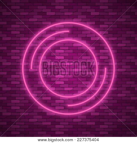 Bulb Glowing. Neon Ring Lamp Sign Isolated On Transparent Background. Blue Electric Light Circle. Ve