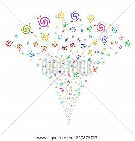 Multicolored Galaxy Fireworks Fountain. Object Fountain Constructed From Random Galaxy Pictograms As
