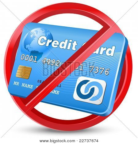 no credit card allowed sign