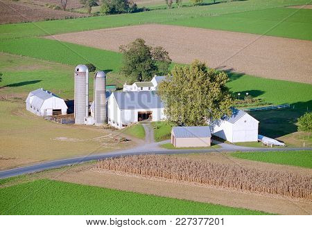 Amish Farm, By Hot Air Balloon, In Late Afternoon On Sunny Autumn Day
