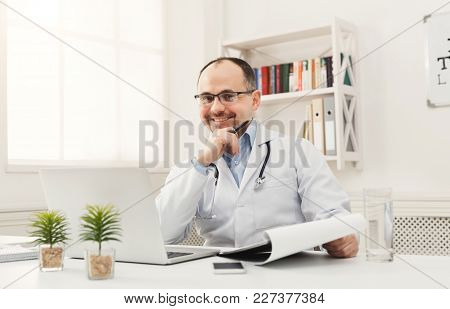 Happy Doctor Is Ready To Check Up His Patients While Working At His Office. Always Ready To Help, Me