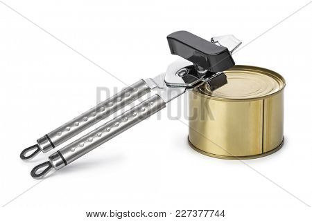 Tin can and opener - isolated on white background