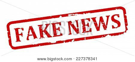 Scratched Oval Stamp With Inscription - Fake News - Vector