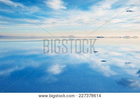 Mirror Surface On The Salt Flat Salar De Uyuni, Altiplano, Bolivia