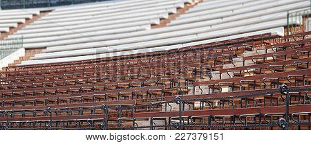 Detail Of A Spanish Plaza De Toros With Wooden Seats
