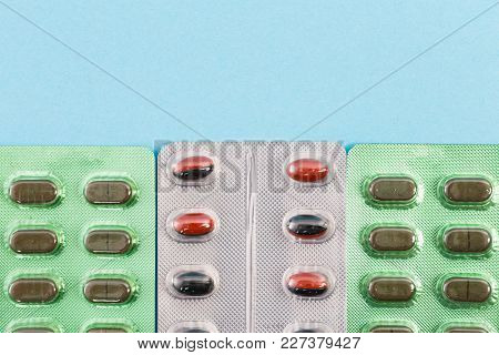 Pattern Of Pills Blisters With Copyspace.
