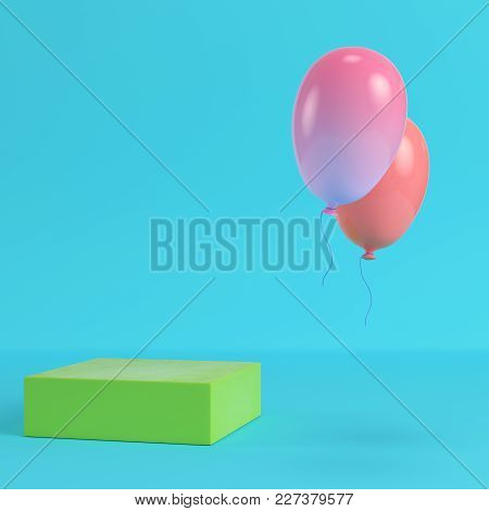 Green Box With Two Flying Balloons On Bright Blue Background In Pastel Colors. Minimalism Concept. 3
