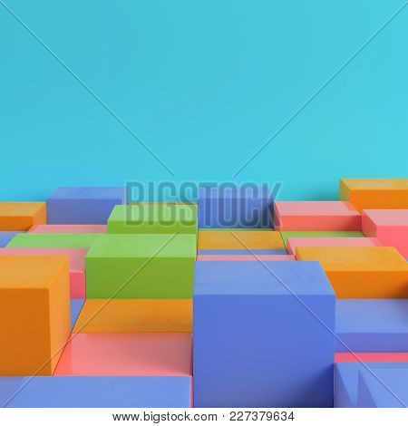 Colorfull Boxes On Bright Blue Background In Pastel Colors. Minimalism Concept. 3d Rendering