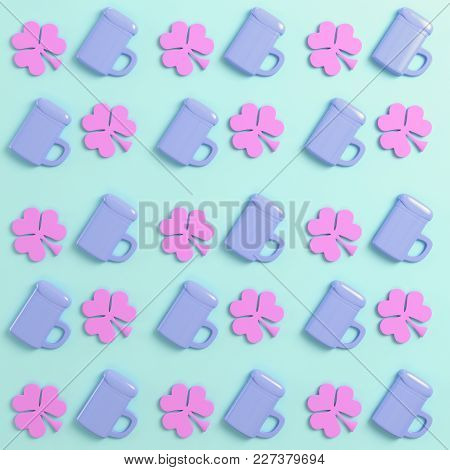 Clover And Beer Mug On Bright Background In Pastel Colors. Top View. 3d Rendering