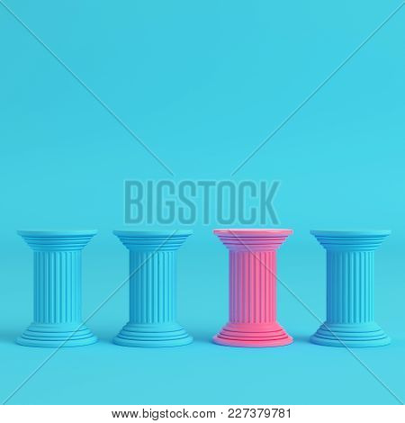 Four Ancient Pillars On Bright Blue Background In Pastel Colors. Minimalism Concept. 3d Render