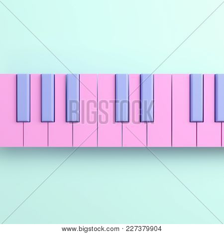Pink Piano Keyboard On Bright Background In Pastel Colors. Top View. 3d Rendering