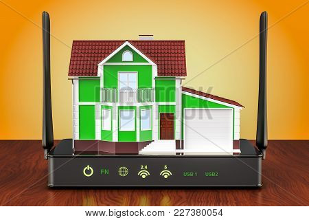 Internet Connection Concept. Wireless Internet Router With House On The Wooden Table. 3d Rendering