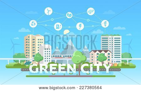 Green City - Modern Flat Design Style Vector Illustration On Blue Background With A Set Of Icons On