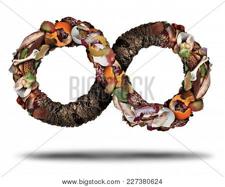 Composting Symbol And Compost Cycle Icon System Concept As A Pile Of Rotting  Fruits Egg Shells Bone