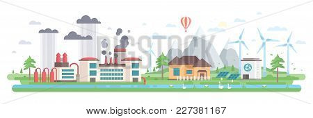 Air And Water Pollution - Modern Flat Design Style Vector Illustration On White Background. A Compos
