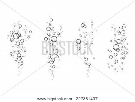 Underwater Fizzing Air Transparent  Bubbles Flow On White  Background.