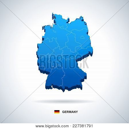 Germany Map And Flag - Three Dimensional Vector Illustration