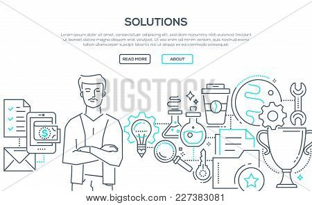 Solutions - Modern Line Design Style Illustration On White Background. Banner With Heading, Place Fo