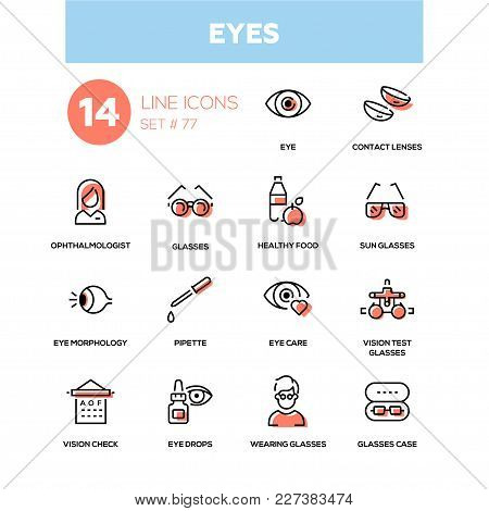 Eyes - Line Design Icons Set. High Quality Black Pictogram. Contact Lenses, Ophthalmologist, Healthy
