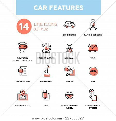 Car Features - Line Design Icons Set. Conditioner, Parking Sensors, Electronic Stability Control, St