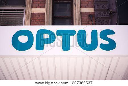 Sydney, Australia - February 12, 2015: Detail Of The Optus Store In Sydney, Australia. Optus Is The
