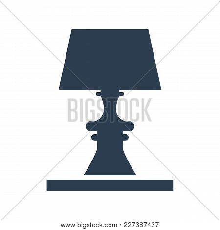 Table Lamp Icon On White Background.