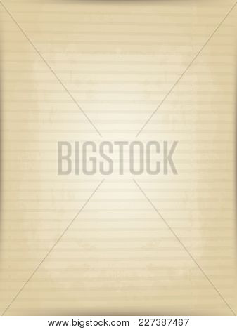 Vector Vertical Background Old Beige Corrugated Postal Paper. Imitation Of The Old Printing Press. H
