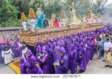 Antigua, Guatemala -  March 5, 2017: Lent Procession In Town With Most Famous Holy Week Celebrations