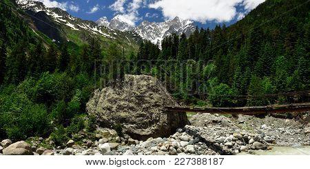 View On The Caucasus In Transit To The Chalaadi Glacier, Georgia