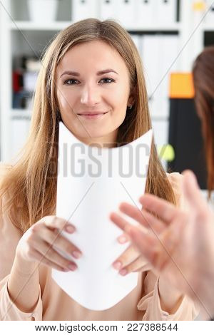 Smiling Woman Offer Contract Form On Clipboard Pad And Silver Pen To Sign Closeup. Strike A Bargain