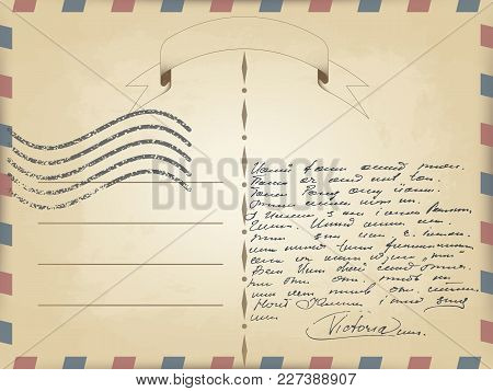 Vector Realistic Old Vintage Card Template With Slanted Lines On The Edges Of Red And Blue. Flutteri
