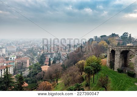 Aerial Panoramic View On Bergamo Town In Northern Italy