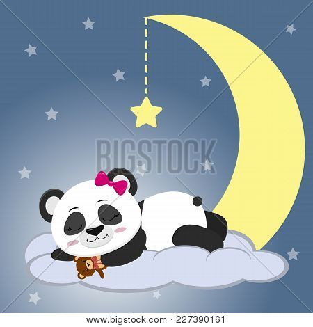 The Sweet Panda Is Sleeping On A Cloud And A Big Moon, Holding A Bear, Against The Background Of The