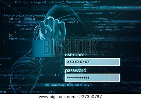 Login form and hacker with lock on dark background. Concept of cyber attack and security