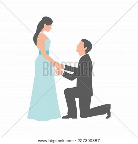 Marriage Proposal. Man Making Proposal To Woman On White Background