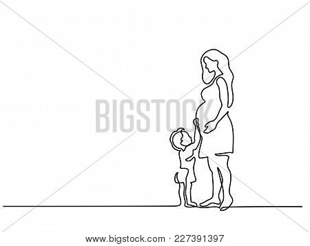 Continuous Line Drawing. Happy Pregnant Woman With Her Small Son, Silhouette Picture. Vector Illustr