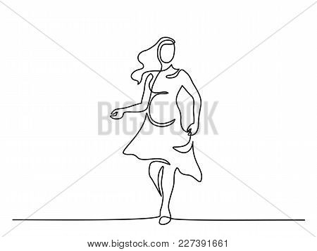 Continuous Line Drawing. Happy Pregnant Woman Walking, Silhouette Picture. Vector Illustration