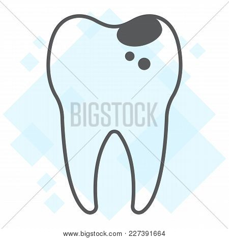 Sick Tooth Thin Line Icon, Stomatology And Dental, Caries Sign Vector Graphics, A Linear Pattern On