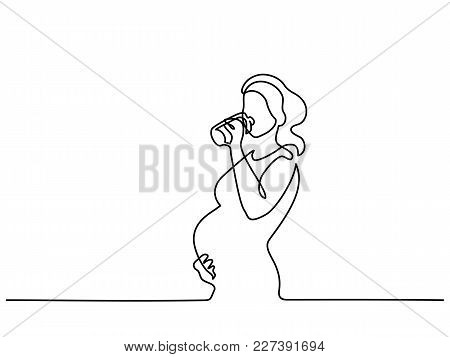 Continuous Line Drawing. Happy Pregnant Woman Drinking Water, Silhouette Picture. Vector Illustratio