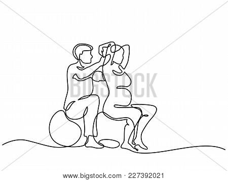 Continuous Line Drawing. Happy Pregnant Woman Exercising On Fitball With Trainer, Silhouette Picture