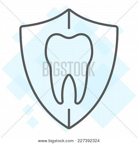 Dental Protection Thin Line Icon, Stomatology And Dental, Tooth In Shield Sign Vector Graphics, A Li