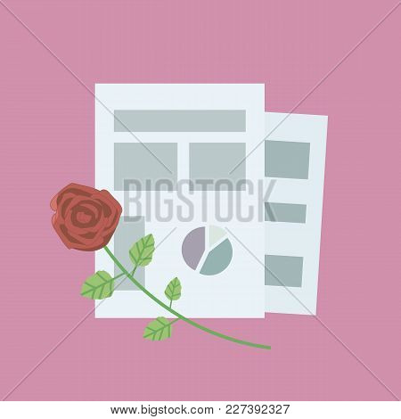 Composition Of Office Sheets Of Paper With Graphs And With Red Rose On A Pink Background