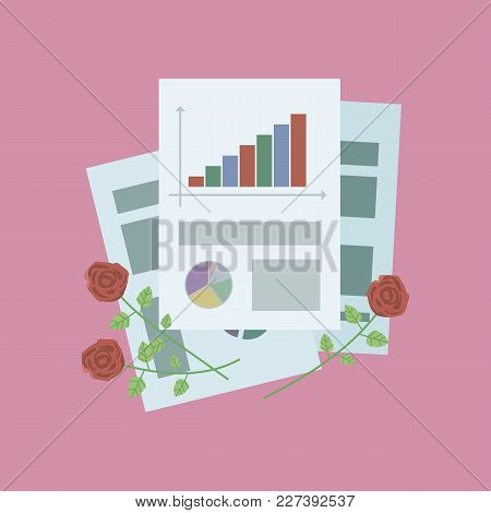 Composition Of Office Sheets Of Paper With Graphs And With Red Rosees On A Pink Background