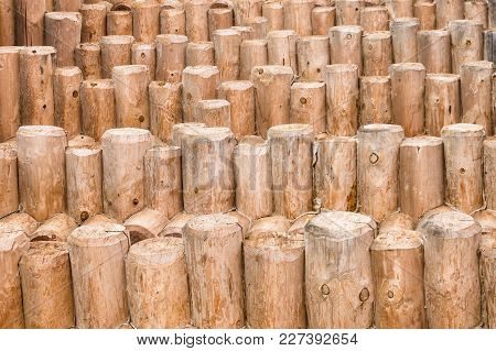 Construction Of Wood Logs. A Lot Of Wood Logs Texture Background Closeup